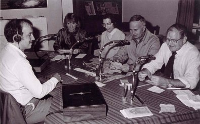 Garry Greenwood, Kathleen Richies, Ann Craddock, Henry Furrer and founding member Cyril Humphreys in the BDAN studio in September 1985