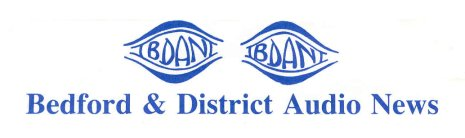 The official logo of Bedford and District Audio News - drawing in light blue of two eyes with the initials B.D.A.N. written inside each, with the charity's name beneath